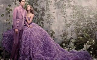 Яркое сиреневое платье на свадьбу для невесты – модные тренды