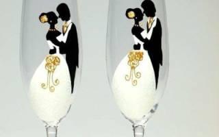 Ручная роспись бокалов на свадьбу по контуру, узорами, по трафаретам – как сделать эксклюзивные аксессуары для молодоженов своими руками
