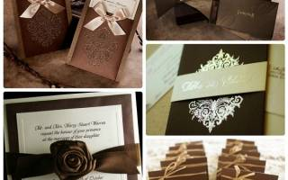 Коричневая, шоколадная, бежевая свадьба: оформление зала и стола