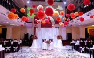 Красивое украшение свадебного зала своими руками – виды дизайна и мастер-класс