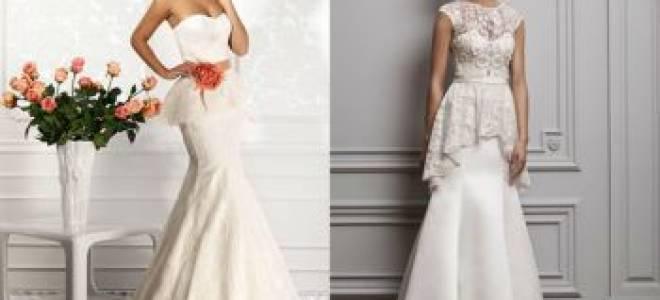 ТОП-4 стильных свадебных платьев: с баской, воланами, карманами, трапеция