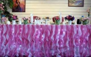 Как выбрать и украсить скатерть для свадебного стола своими руками – мастер-класс